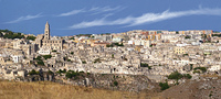 Overview of the beautiful town of Matera in Italy