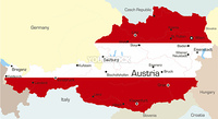 Abstract vector color map of Austria country coloured by national flag