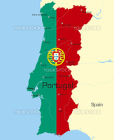 Abstract vector color map of Portugal country coloured by national flag