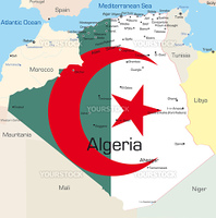 Abstract vector color map of Algeria country colored by national flag