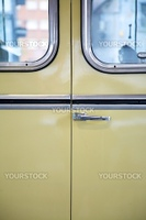 old retro bus in Madrid city Spain Europe