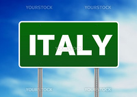 Green Italy highway sign on Cloud Background.
