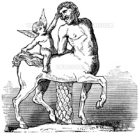 Chiron Centaur and Cupid statue or Furietti Centaurs and cupid vintage engraving. Old engraved illustration of Chiron centaur and cupid statue, 1800s.