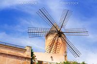 classic windmills from balearics in Palma de Majorca city at Spain