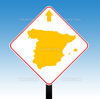 Spain road sign in colors of flag with directional arrow, blue sky background.