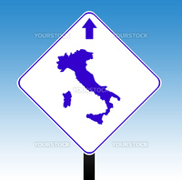 Italy road sign with directional arrow, blue sky background.