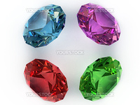 Multi-coloured faceted gemstones. Top view. High resolution 3D image