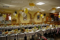 photo of the banquet room prepared to celebration