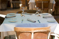 decorated table - in the outdoor restaurant