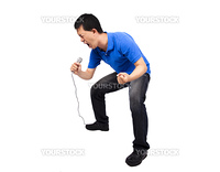 Young man enjoy singing.Isolated with white background.