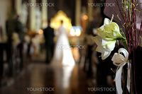 White flower wedding decoration in a chapel