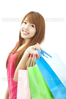 asian lovely woman with shopping bags