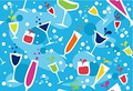 タイトル:Colourful cups wallpaper on light blue background.
