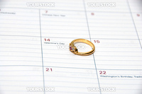 ring and calendar concept of valentine