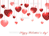 Valentine`s day theme with mosaic hearts over white