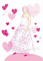 Sketch of a wedding dress on a white background