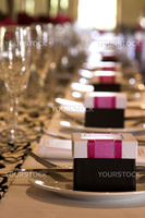 Wedding table setting with crockery and cutlery