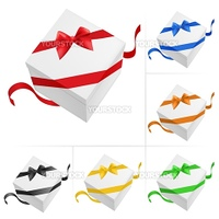 Vector illustration of 6 gift boxes with ribbon on white background