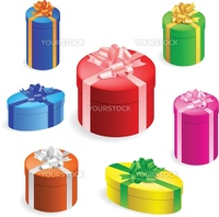 Vector illustration of 7 different round gift boxes with ribbon