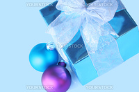 Elegant blue gift with ribbons