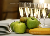Fruit and wine at restaurant