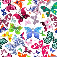 White seamless valentine pattern with colorful butterflies and hearts (vector)