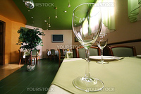Glass for wine on a table at restaurant