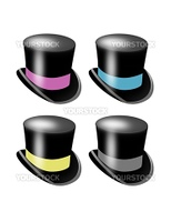 Set of Top Hats with colored bands