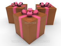 3d gift box celebration brown pink christmas