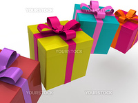 3d gift box present christmas ribbon birthday