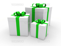 3d gift box green white christmas ribbon
