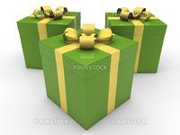 3d gift box celebration green yellow christmas