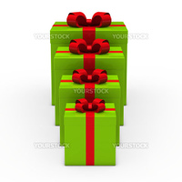 3d green gift box small to big