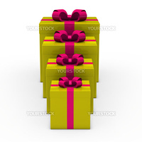 3d gold gift box small to big