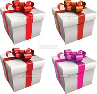 Gift boxes with ribbon and bow, vector.