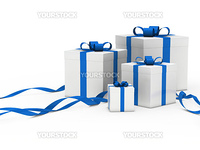 3d gift box white with blue ribbon