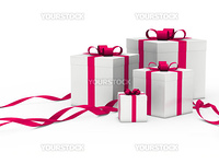 3d gift box white with pink ribbon