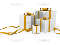 3d gift box white with gold ribbon