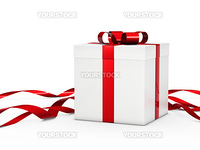 Christmas gift box white with red ribbon