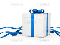 Christmas gift box white with blue ribbon