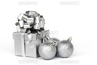 silver gift isolated on white