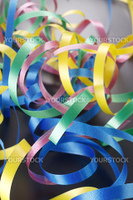 Curled ribbons isolated on the background.