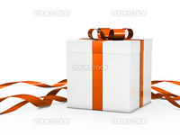 Christmas gift box white with orange ribbon