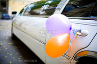 Wedding limousine decorated with baloons