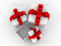 White gift boxs. Isolated 3D image.