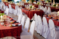 Tables set for a wedding reception in a restaurant in Spain