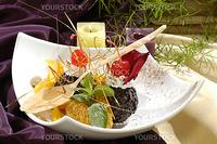 chocolate dessert, decorated saccharine fruit