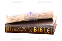 bible and wedding scroll isolated