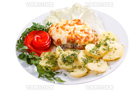 meat with potatoes and vegetable.isolated on white background