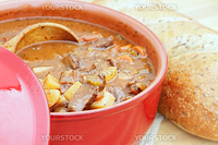 Freshly prepared venison stew with vegetables in a rich broth. Could also be used as beef stew. Extreme shallow DOF.